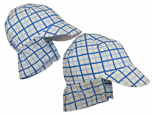 12 Piece Eyelets (N'Ice Caps Baby Unisex Checkered Seersucker Safari Sun Hat 2 Piece Pack (12 Months, Blue/Blue))