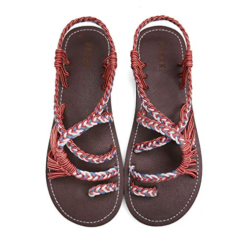 MEGNYA Flat Sandals for Women Braided Strap Beach ShoesZD001-W8-11 Brown