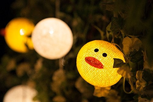 Cotton Balls Yellow Duck and Egg Fairy String Wedding Valentine Party Lights Christmas Decor Patio 20 Lights By' Thai decorated by Thai Decorated