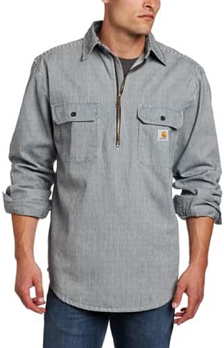 Carhartt Men's Hickory Stripe Shirt Denim Quarter Zip
