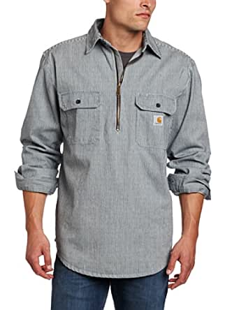 Carhartt Men's Hickory Stripe Shirt Denim Quarter Zip,Hickory Stripe,Medium