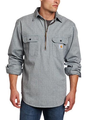 Tall Hickory Stripe Shirt Denim Quarter Zip,Hickory Stripe,Large Tall (Carhartt Workwear Pocket Tees)