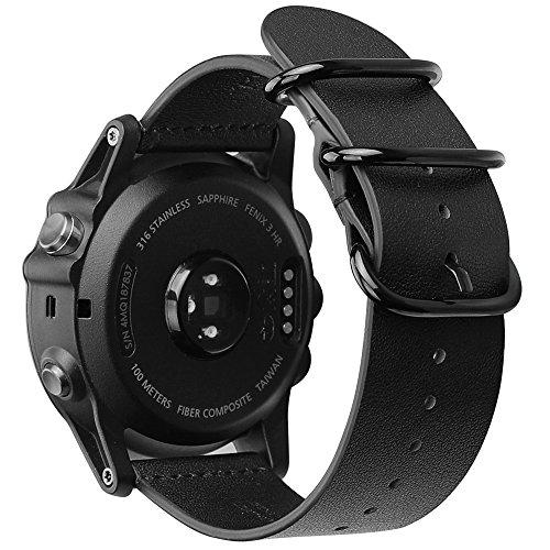 for Garmin Fenix 5X Plus/Fenix 3 HR Watch Band, Fintie Premium Genuine Leather Bands Adjustable Replacement Strap for Garmin Fenix 3/Fenix 3 HR/Fenix 5X/Fenix 5X Plus Smart Watch - Black