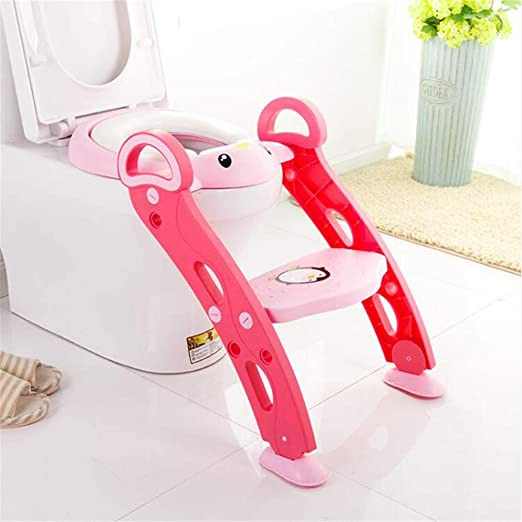YICIX Asiento de Inodoro para bebé Toilettes para niños con Escalera Ajustable Silla para niños Orinal Plegable Asiento para el Inodoro Entrenador Paso para niños Asiento para IR al baño,Pink: Amazon.es: Hogar