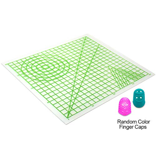 SHONCO 3D Printing Pen Silicone Design Mat with Basic Template and 2 Silicone Finger Caps Great for 3D Pen Drawing Designing