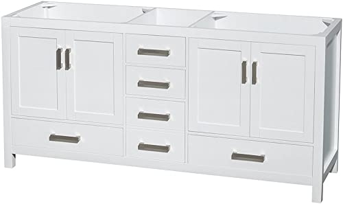 Wyndham Collection Sheffield 72 inch Double Bathroom Vanity in White, No Countertop, No Sinks, and No Mirror