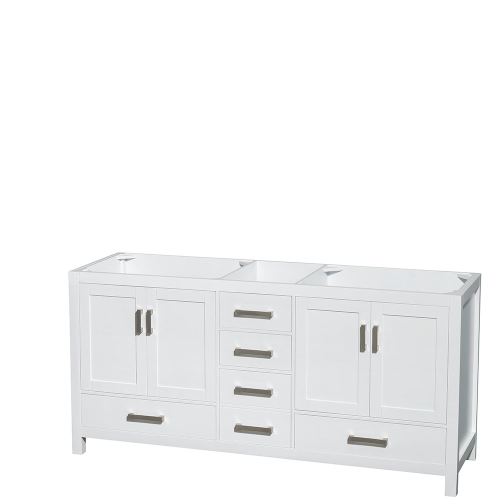 Wyndham Collection Sheffield 72 Inch Double Bathroom Vanity In White, White  Carrera Marble Countertop, Undermount Square Sinks, And No Mirror      Amazon.com
