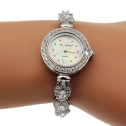 HERMOSA Bracelet Watches Abalone Shell Watch Disc White Topaz Watchband Japanese Quartz Movement H280
