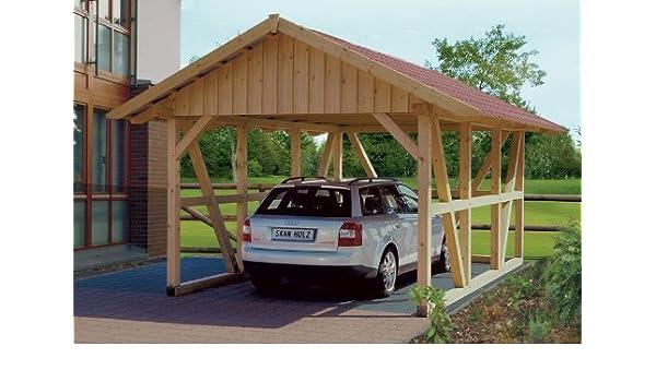 Cabaña Madera CarPort Negro Bosque 424 X 600 cm con Posterior ...