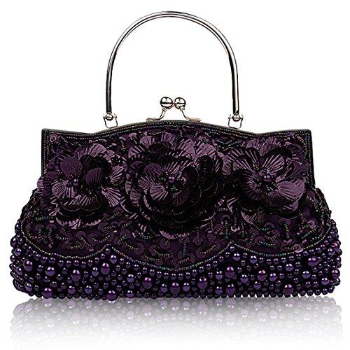 HT Sequined Clutch Bags - Cartera de mano para mujer morado