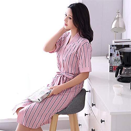 Algodón Verticales Mujeres l Pijamas Albornoz Sleepwear Camisón Rayas Home qxP41wR