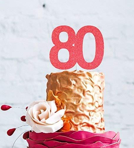 LissieLou Decoración para Tarta para número 80 tamaño Grande ...