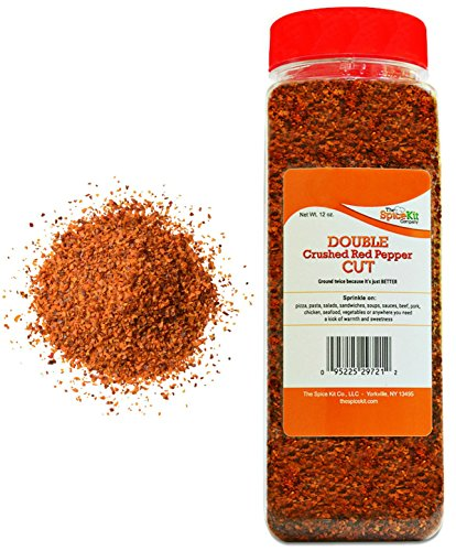 Double Cut Crushed Red Pepper - 12 oz. - Virtually No Seeds - Red Pepper Flakes - Medium Hot Spice - Great Foodie Gift