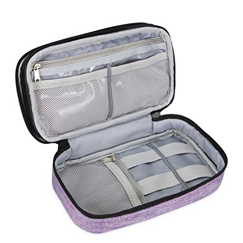 "Teamoy Travel Makeup Brush Bag(up to 8.5""), Professional Cosmetic Artist Organizer Case with Handle Strap for Makeup Brushes and Beauty Supplies-Small, Purple (No Accessories Included)"
