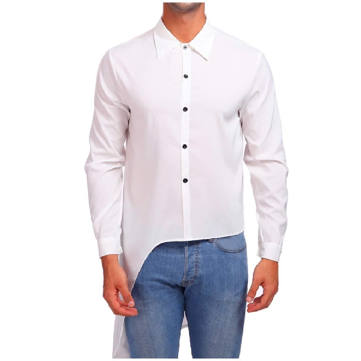 RomantcMen Pure Colour Oversize Coattail Unique Hem Line Button Down Shirt