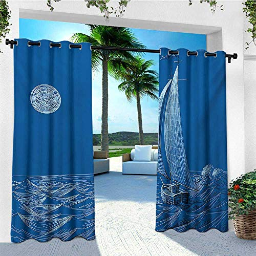 - leinuoyi Sailboat Nautical, Outdoor Curtain of Lights, Night Sea View Sail Boat in Moonlight Wavy Nautical Ship Illustration, for Patio Furniture W84 x L96 Inch Violet Blue
