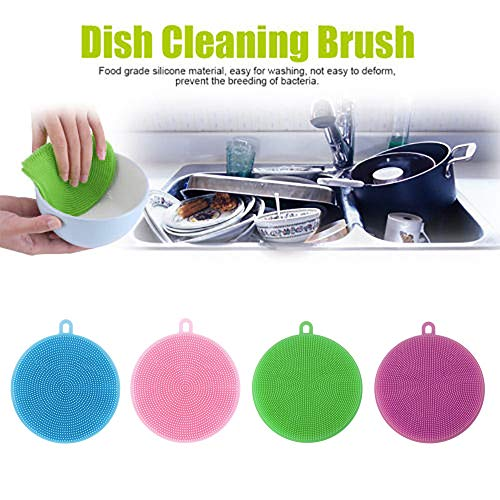 Fenleo Silicone Dish Washing Brush,Food Grade Scrubber BPA Free,Multipurpose Kitchen Cleaning Sponges for Pot, Pan, Fruit and Vegetables(4 Pack)