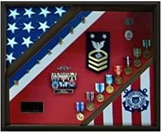 product image for 2 Flag Display Case, Coast Guard Gifts, USCG, Shadow Box, USCG Shadow Box, Coast Guard Cutter 3x5