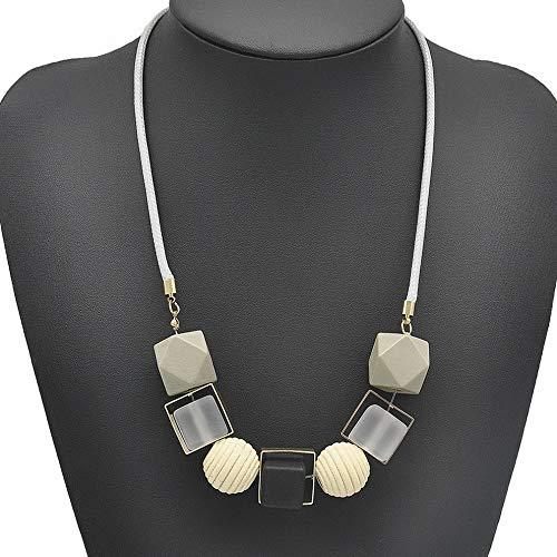 (Werrox Geometrical Women Retro Necklace Statement Pendants Wood Beads Necklaces Jewelry | Model NCKLCS - 22752 |)