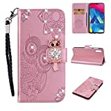 Amocase Wallet Case with Black 2 in 1 Stylus for Samsung Galaxy M10,3D Bling Gems Owl Magnetic Mandala Embossing Premium Strap PU Leather Card Slot Stand Flip Case for Samsung Galaxy M10 - Rose Gold