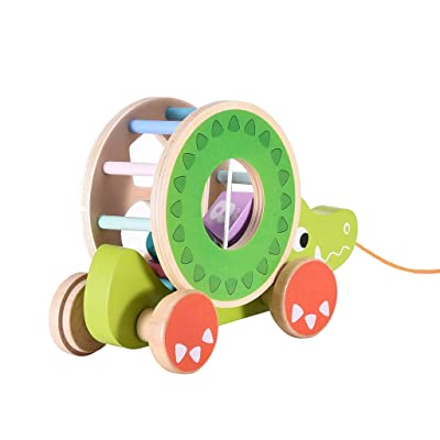 Gmgod❤️❤ Learning Walker,Wooden Shape Pull Toy Wooden Children's Toy Learning Toy for Children: Clothing