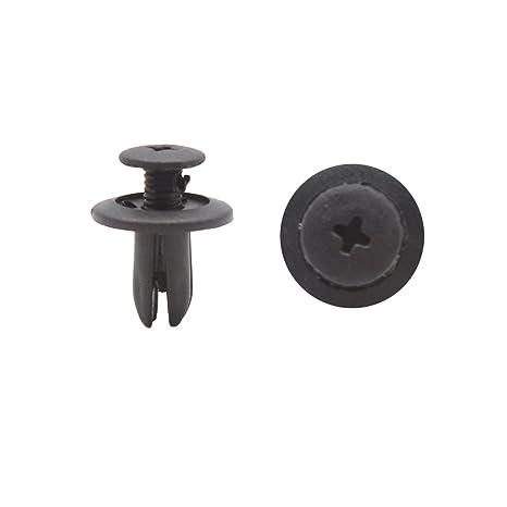 uxcell 100Pcs Black Plastic 6mm Hole Rivet Bumper Fender Push Fastener Clips for Car