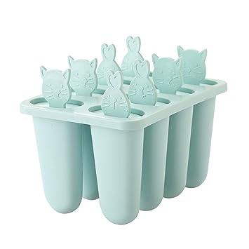 Compra BESTOMZ Moldes para Helados Moldes de Paleta Moldes de Polos Fábrica de Hielo de Pop 8 Rejillas (Azul) en Amazon.es