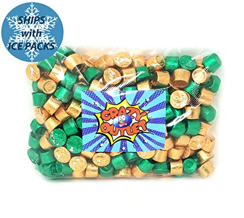 CrazyOutlet Pack - Rolo Chewy Caramel Chocolate Candy, Green and Gold Foil, St Patrick's Day Candy, 3 lbs
