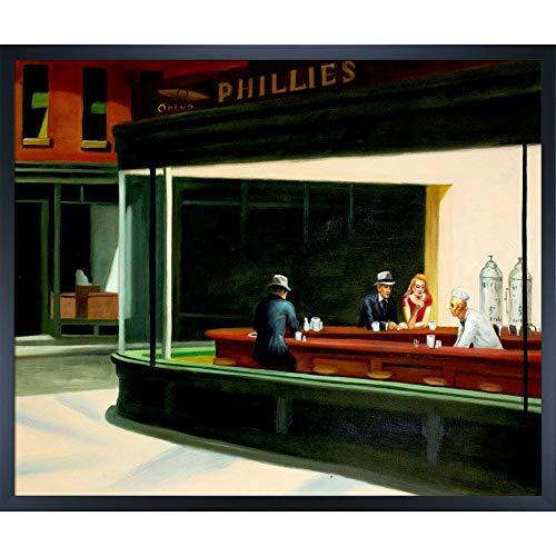 overstockArt Edward Hopper Night Hawks, 1942 20-Inch by 24-Inch Framed Oil on Canvas