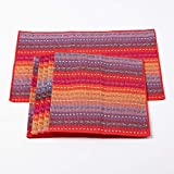 Cotton Table Placemats Set of 4 Woven Braided