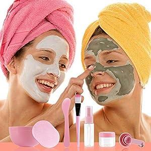 Teenitor Face Mask Mixing Bowl Set, Lady Facial Care Mask Facemask Mixing Tool Sets, Bowl Stick Brush Gauge Cleaning Mat 9 in 1 Set Pink