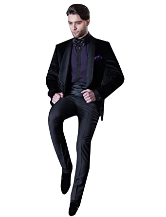 CALVINSUIT Hombre Traje de Terciopelo para Hombre Pantalones De ...
