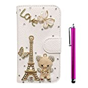 Cuitan Luxury Crystal Rhinestone Diamond Bling PU Leather Flip Stand Wallet Case Cover + Stylus for Nokia Lumia...