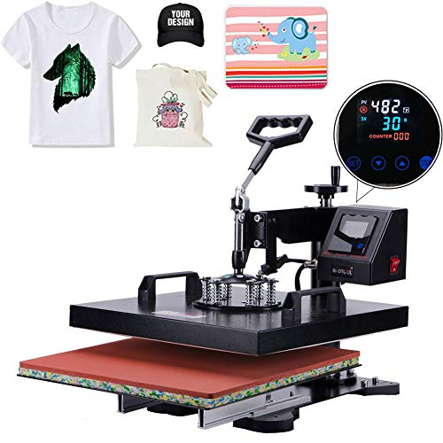 APWONE Heat Press 15x15 Inch Heat Press Machine 2 in 1 Multifunctional DIY LED Digital Heat Press Transfer Sublimation 360 Degree Swing-Away for T-Shirts Hat