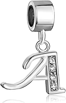 CandyCharms Letter AZ Charms Initial Alphabet Spacer Dangle Birthstone  Crystal Beads Charm for Bracelets