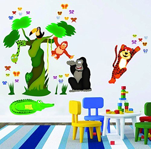 Eosette Nursery Wall Decals - Jungle Tree, Butterflies an...