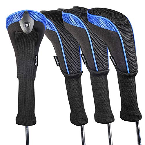 Andux 4 Pack Long Neck Golf Hybrid Club Head Covers Interchangeable No. Tag CTMT-01 (Blue)
