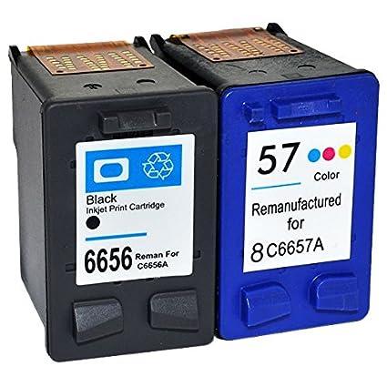 Cartuchos de tinta remanufacturados 56 y 57 para impresoras HP (3 ...