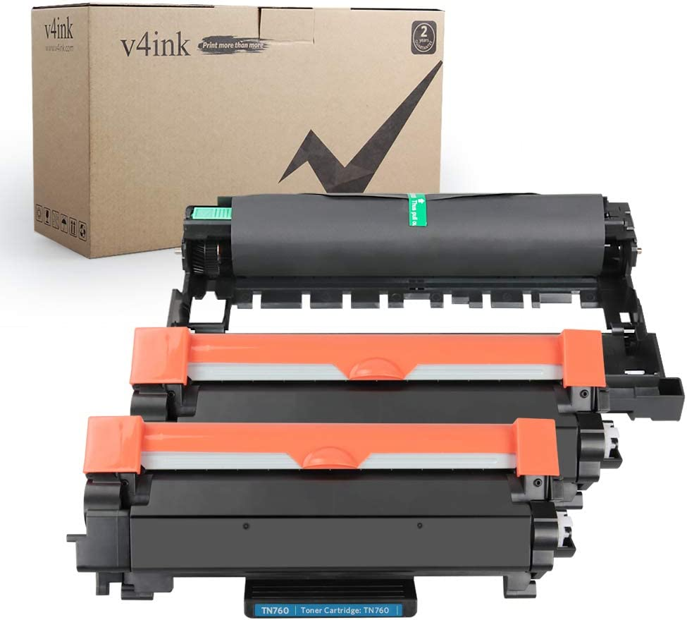 V4INK New Compatible Toner Cartridge for Brother TN760 TN730 TN 760 730 Toner Black Ink for Brother HL-L2350DW HL-L2390DW HL-L2395DW HL-L2370DW DCP-L2550DW MFC-L2710DW MFC-L2730DW MFC-L2750DW Printer