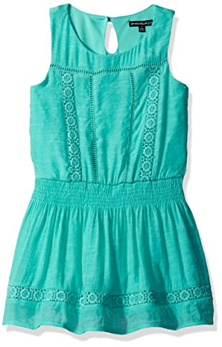 My Michelle Girls' Big Sleeveless Dress with Crochet Details and Ruched Waist, Aqua, 16 (My Clothes Michelle)