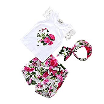 MagiDeal Baby Girl Clothes Set Romper Jumpsuit Tutu Dress Clothing Set With Headband - 0-6 Months
