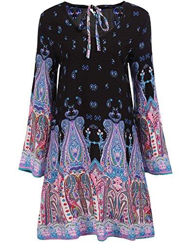 Embroidery Mini Dress - Zeagoo Women's Bohemian Embroidery Floral Tunic Shift Blouse Flowy Mini Dress