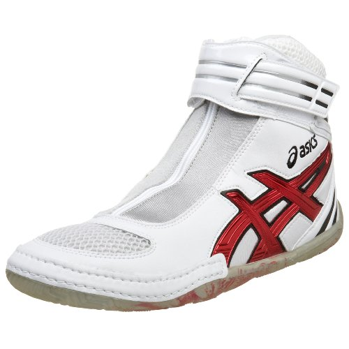 white and red asics wrestling shoes