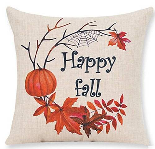 Andreannie Pumpkin Maple Leaf Wreath Happy Fall Vintage Letters Printed Happy Thanksgiving New Living Room Sofa Car Decorative Cotton Linen Throw Pillow Case Cushion Cover Square 18 X 18 Inches