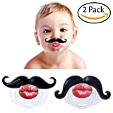 Hibery 2Pcs Mustache Pacifier, Funny Gentleman Mustache, Cute Baby Handlebar, Funny Baby Pacifiers for Newborn, BPA Free Latex Free Made With Toddler Soft Silicone