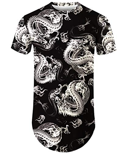 Mens Hipster Hip Hop Ripped Round Hemline Longline Curve Rose Floral T-Shirt Drop Tail Summer Tee 007 S
