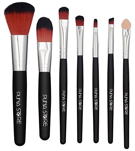 Puna Store 7 Piece Makeup Brush Set with Storage Pouch   Black