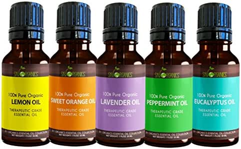 Sky Organics Top 5 Essential Oil Set Pure, Therapeutic Grade and Organic 1oz (30ml) Each of Lavender, Peppermint, Orange, Lemon and Eucalyptus for Aromatherapy and Diffusers- Made in USA