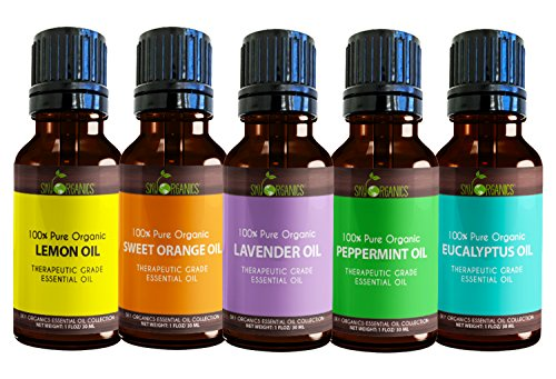 Sky Organics Top 5 Essential Oil Set By Pure, Therapeutic Grade and Organic 1oz (30ml) each of Lavender, Peppermint, Orange, Lemon and Eucalyptus for Aromatherapy and Diffusers- Made in USA