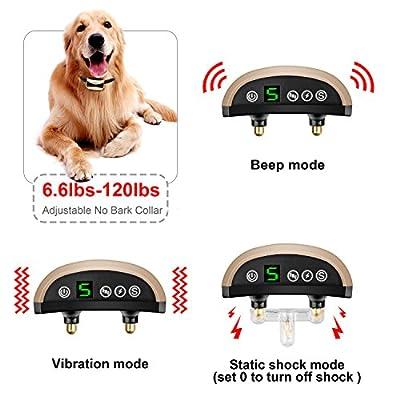 Bark Collar 2018 New Upgraded Humane Dog No Bark Collar with Beep Vibration No Shock or Harmless Shock for Small Medium Large Dog